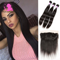 8A Preuvian Virgin Hair Straight Lace Frontal Closure With Bundles 100% Human Hair Peruvian Straight Hair With Lace Frontal
