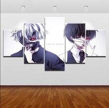 цена на Canvas Art Print Painting Wall Decor Picture Home Decorative Living Room 5 Panel Tokyo Ghoul Ken Kaneki Mask Animation Poster