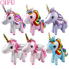 QIFU Balloon Unicorn Birthday Party Rainbow For Children Happy Decorations Kids Favors