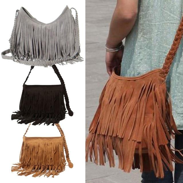 d4e3fcd433 Hot Sale Fashion Women s Suede Weave Tassel Shoulder Bag Messenger Bag  Fringe Handbags