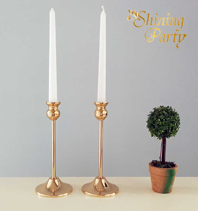 "2Pcs/Lot, H22cm(8.7"") Golden Metal Candle Holders, Ornament Candle Stand, Candlestick, Wedding Party Christmas Home Decoration"