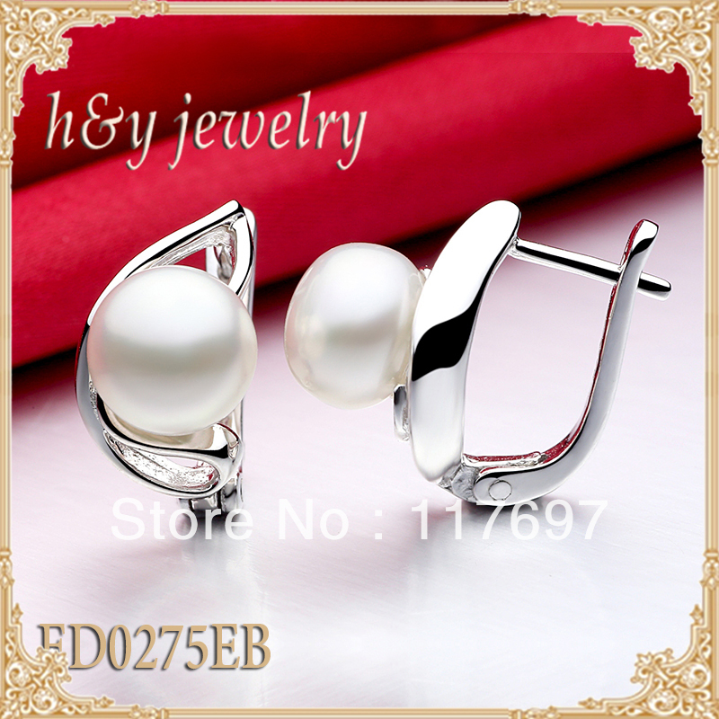 solid sterling silver english locks stud earrings with fresh water pearl FED0275EB shipping Free