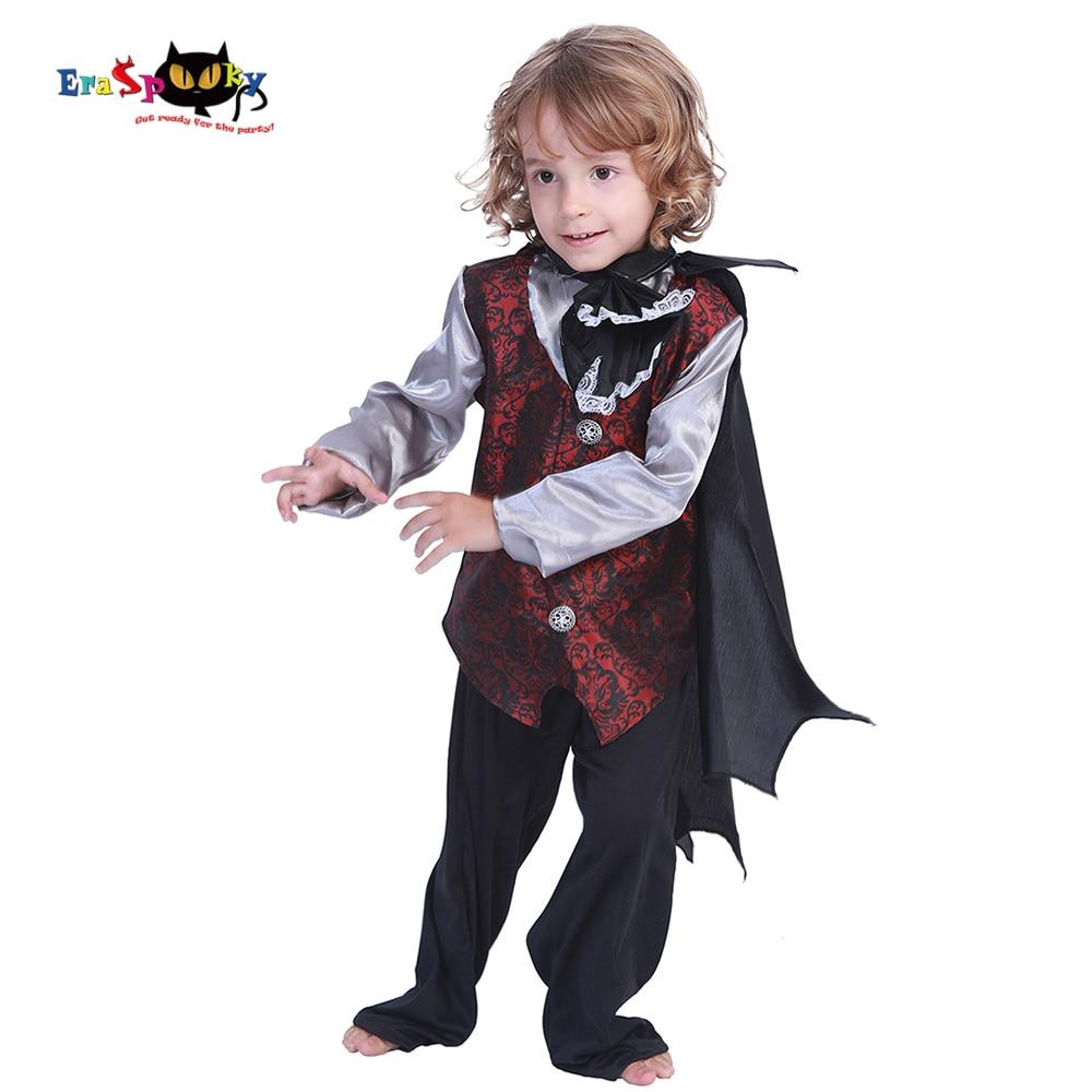 Eraspooky Black Vampire Costumes Earl Dracula Boys Halloween Costume for Kids Carnival Party Purim Outfit Cloak Fancy Dress