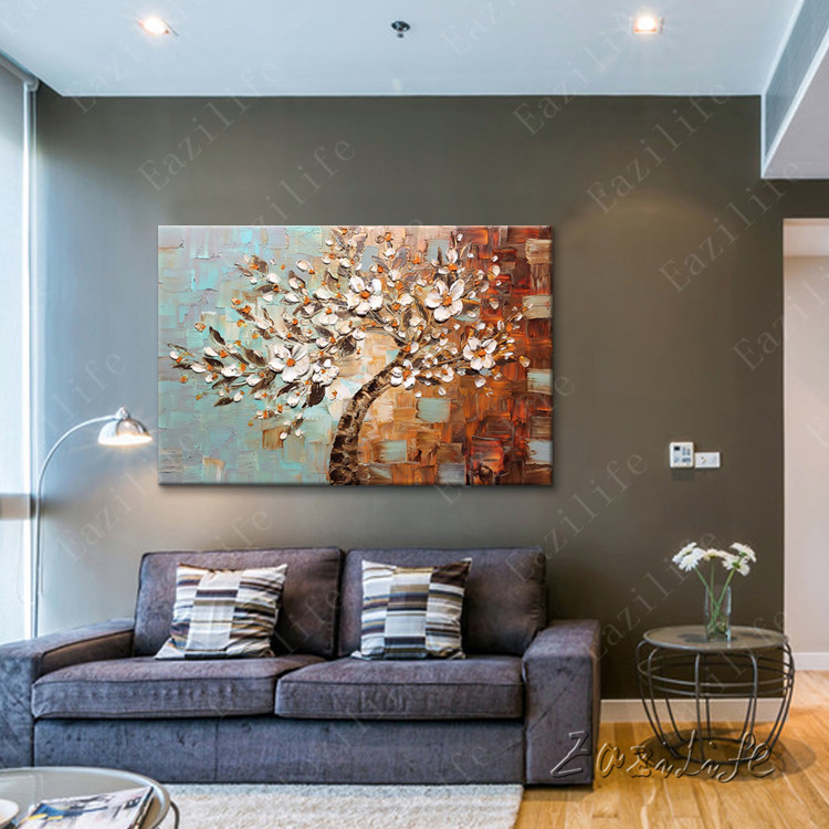 Flower Hand Painted palette knife 3D texture flower Hand Painted Canvas Oil  Painting Wall Pictures For Living Room 05