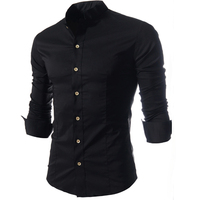 Men Shirt Luxury Brand 2017 Male Long Sleeve Shirts Casual Collar Slim Fit Black Dress Shirts