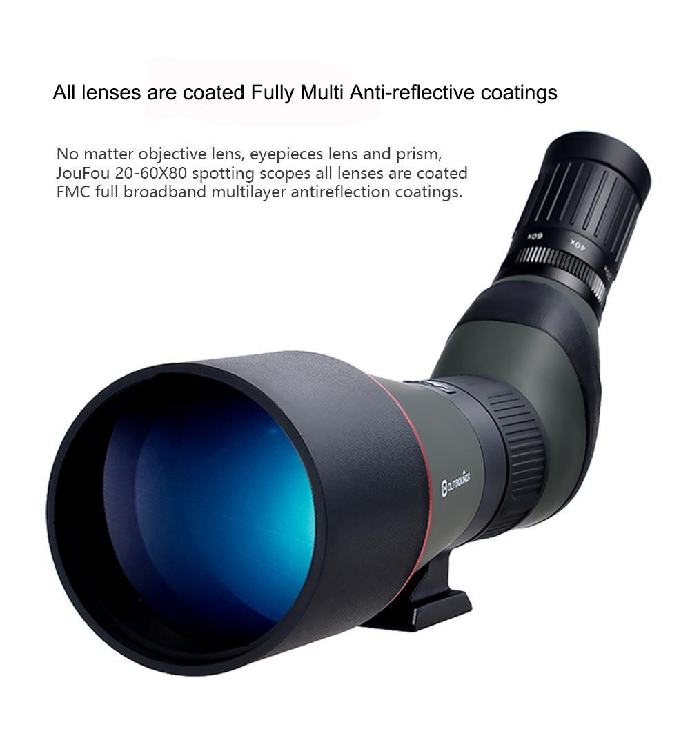 JouFou 20-60X80 HD Spotting Scope Waterproof Zoom Target Shooting Optical Glass High Power with Tripod Birdwatching (5)