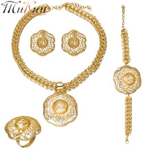 MUKUN 2018 Dubai Gold color Jewelry Sets African Women Big Necklace earring Nigerian Wedding African Beads Costume Jewellery set(China)