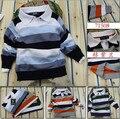 Novo 2015 Retail Crianças listrado casuais blusas de marca do nome do bebê meninos/meninas de manga longa pullover outono roupa dos miúdos