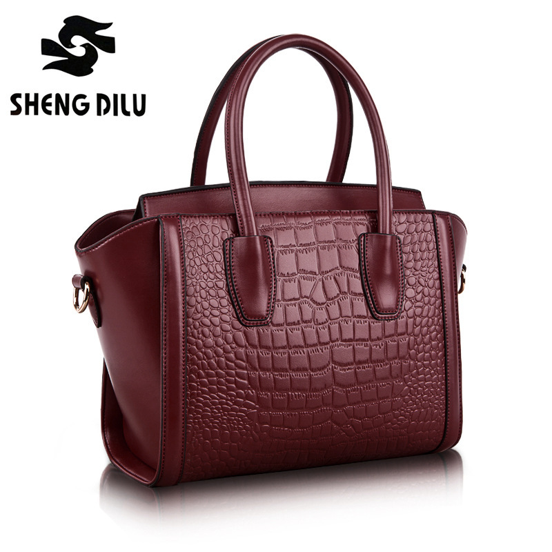 NEW 2016 Designer HOT European Style Trapeze Shape Crocodile Pattern Bag Women Genuine Leather Brand Handbag Messenger Bags 1166 yuanyu new 2017 hot new free shipping crocodile leather women handbag high end emale bag wipe the gold