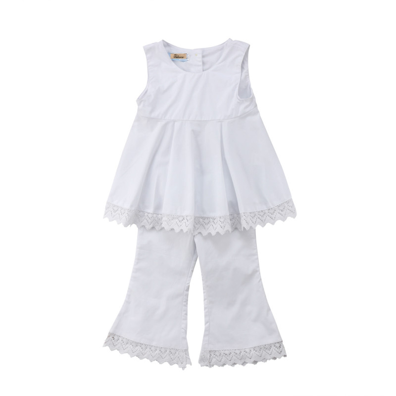 Toddler Kids Baby Girl Lace Princess Sunsuit Clothes Summer T Shirt Vest Blouse Tutu Dress Tops Long Pants Clothing Sets newborn toddler girls summer t shirt skirt clothing set kids baby girl denim tops shirt tutu skirts party 3pcs outfits set