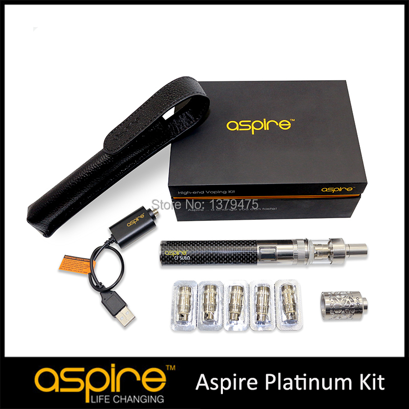 STOCK Aspire E Cigarette Kit 100% Authentic Aspire Platinum Kit 2ML Atlantis Glass Atomizer Vaporizer BVC CF Sub oHm Battery s 2015 aspire atlantis 5 aspire atlantis mega