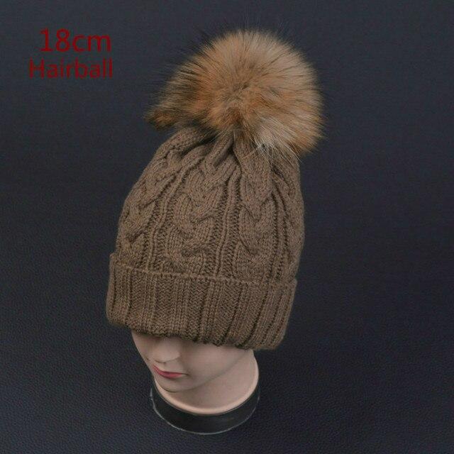 New 100% raccoon fur Autumn and winter large 18cm ball Knitting wool cap Keep warm pointy hat woman Skullies Beanies Female