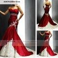 Милая кружева гофрированный бюст аппликации красный свадебное платье высокое качество красный и белый свадебное платье для невесты одеяние де Mariage W872