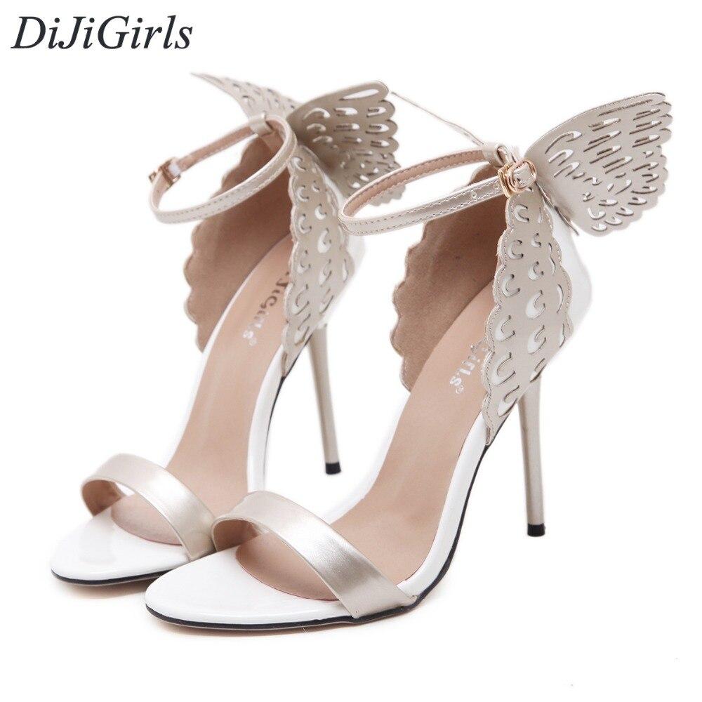 DiJiGirls newStyle women's high heels Peep Toe Stiletto sandals Butterfly Bowtie ladies celebrity shoes Pumps Purple Gold Beige