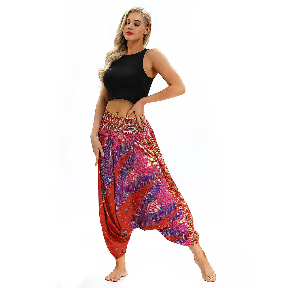 Women Men Pants Casual Woman High Waist Wide Leg Harem Trousers Baggy Boho Loose Aladdin Festival Hippy Jumpsuit Print Lady pant 80