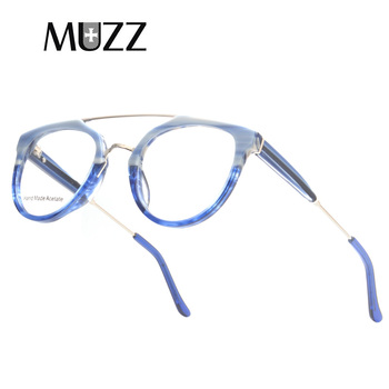 23a1646b18 Monturas de titanio puro superligero MUZZ gafas de hombre ópticas  irregulares pequeño redondo Marco de borde completo miopía prescripción  claro Len