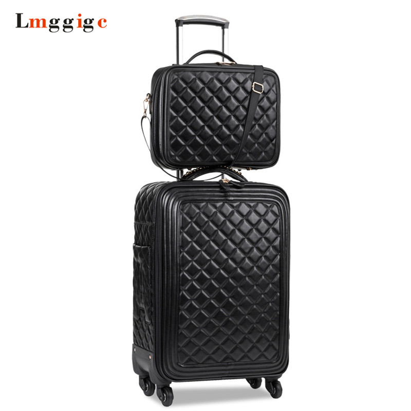 Women Luggage set,High quality PU leather Suitcase bag,Universal wheels Carry-Ons,Grid pattern Carrier,Trolley case,drag box