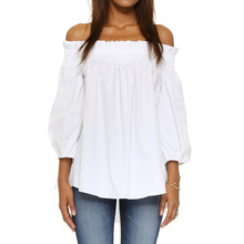 5XL Plus Size Tops Vrouwen Blouse Off Shoulder Slash Neck 3/4 Lange Mouwen Onregelmatige Elegante Dames Shirts Losse Tuniek Zwart wit(China)