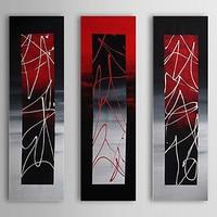 3 Panel handgeschilderde Moderne Abstracte Zwart Rood Witte Lijn Olieverf op Werven Cuadros Pictures voor Woonkamer Muur Decor