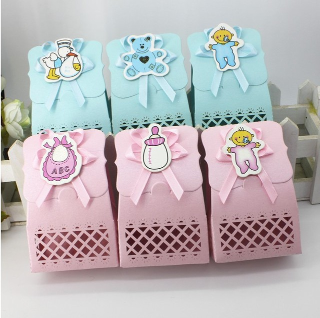 24PC Creative Baby Shower Party Favor Supplies Laser Cut Baby Boy Elements  DIY Candy Boxes Baby
