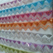 10Meter 4.8CM Laser Sequin Organza Fabric Material Ribbon Line Braid African Lace Guipure Sew Cloth Garment Curtain Accessory