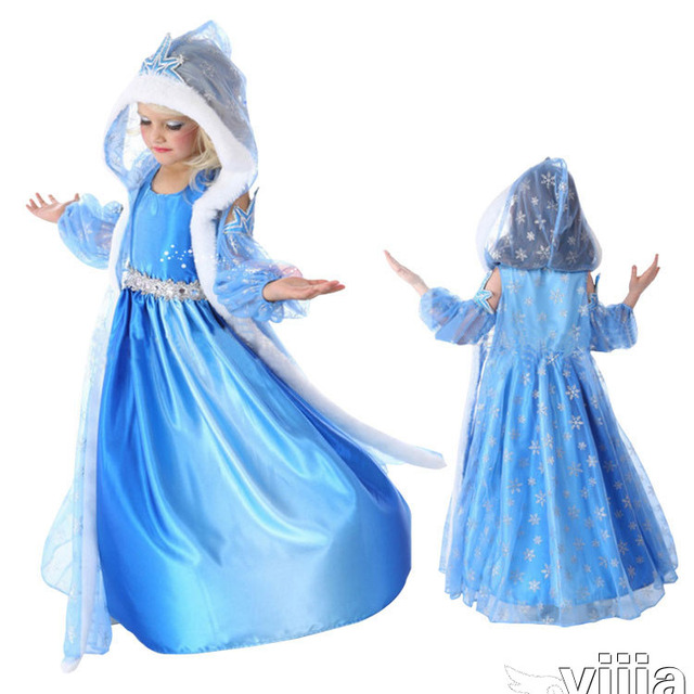 2016 Hot Elsa Anna meninas as crianças vestido de princesa pano festa Vestidos bebês camisola mangas vestido bebê crianças Vestidos feitos sob encomenda