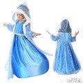 2016 Hot Elsa Anna princesa de las muchachas del vestido de partido del paño Vestidos bebés suéter mangas largas vestido del bebé niños de encargo Vestidos