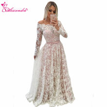 Alexzendra Pink Lining Long Prom Dresses Illusion Back Long Sleeves New Formal  Evening Dress Party Gowns Custom Made a52a7fcd6df8