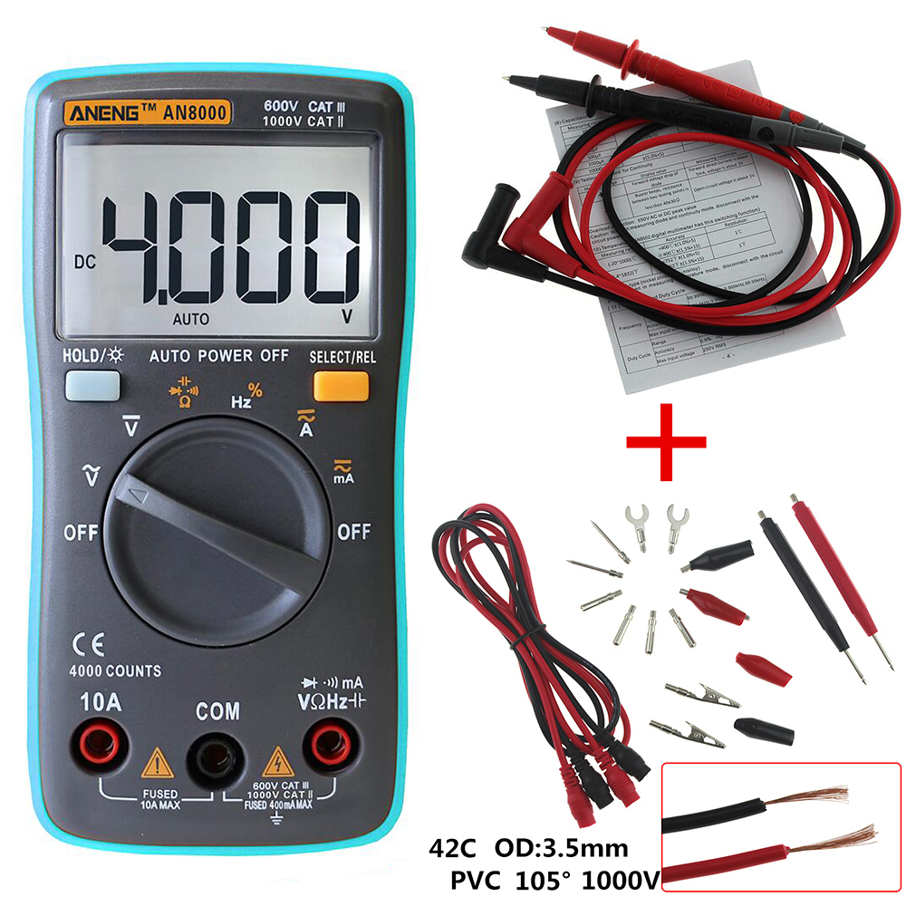 ANENG AN8000 Digital Multimeter 4000 counts Backlight AC/DC Ammeter Voltmeter Ohm Portable Meter все цены