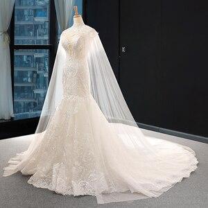 Image 3 - J66594 jancember luksusowa suknia ślubna syrenka szal przędzy frezowanie cekinami ruffles suknie ślubne dla panny młodej vestido de noiva 2
