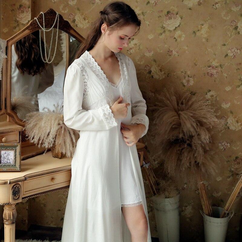 ec47394e9b White Cotton Bride Sleepwear Women Night Wear Princess Robe Gown Set  Vintage Peignoir Set Lace Long Kimono Chemise Dress. Price