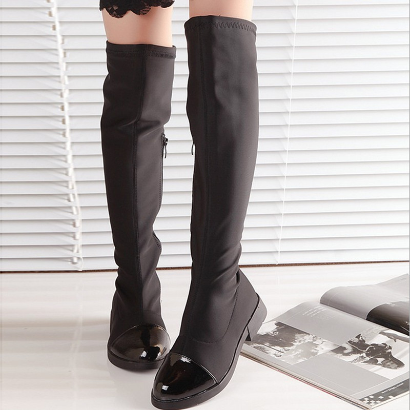 2016 new autumn and winter children s fashion stretch fabric knee boots Gaotong single cotton boots