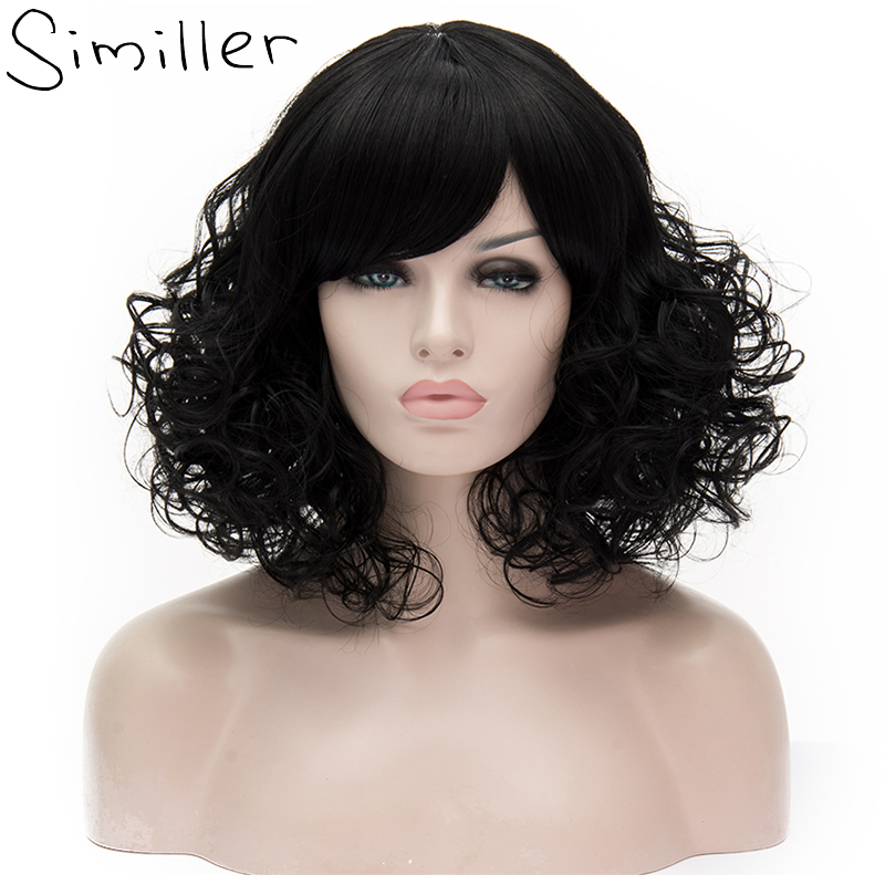 Similler Women Fluffy Short Curly Synthetic Wig Natural Black Heat Resistant Fiber Cosplay Hair With Bangs