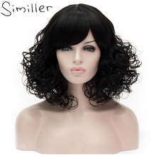 Similler женщины пушистые короткие вьющиеся синтетический парик натуральный черный жаропрочных волокна косплей волосы с челкой 16 дюймов 20 Цвета