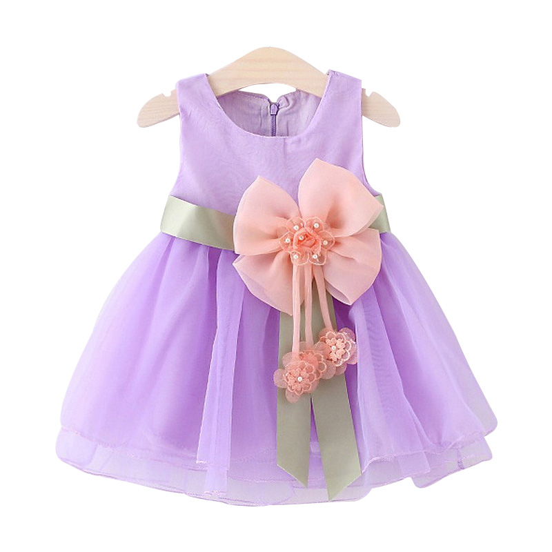 2016 Summer Baby Girls Dresses Princess Bow Weddings Dress Kids Birthday Party Costume C ...