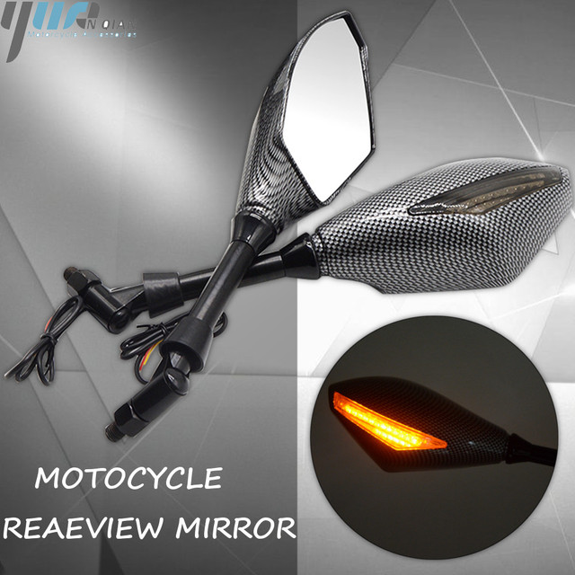 New Motorcycle Indicator Rearview Side Mirrors & Integrated LED Turn Signals Fit For Motorcycle Street bikes Cruiser Scooters