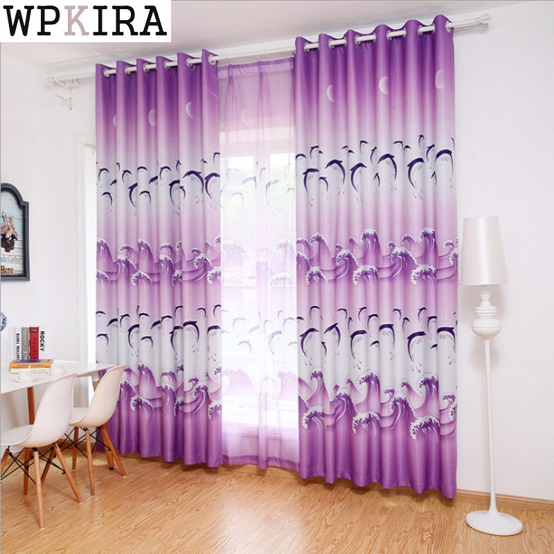Dolphin purple blue curtains printed sheer voile kids - Blue and purple bedroom curtains ...