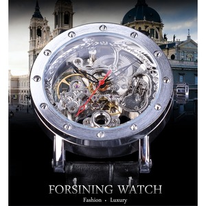 Image 2 - Forsining כסף שלד שעוני יד שחור אדום מצביע שחור אמיתי חגורת עור אוטומטי שעונים לגברים שעון שקוף