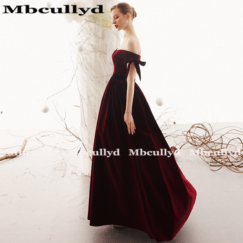 Mbcully Sexy Backless Burgundy Prom vestidos largo 2019 de hombro terciopelo negro chicas Formal noche fiesta vestidos vestido de gala - 2