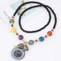 Statement Necklace Fashion Women Vintage Crystal Elephant Long Black Beads Chain Sweater Necklaces Pendants Jewelry Bijoux