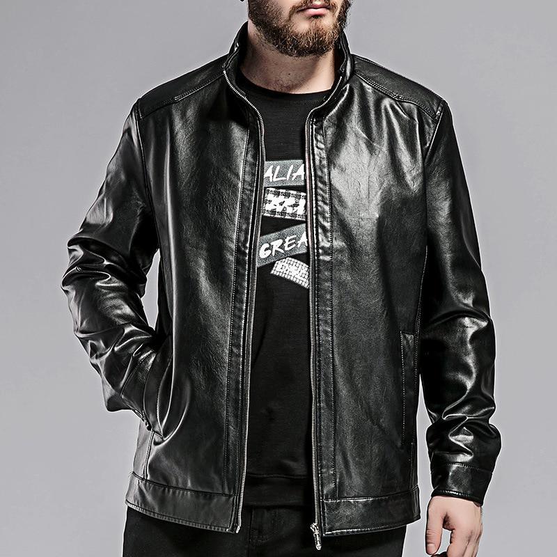 Brand Mens clothing Plus size Men Leather Jacket PU Faux Leather coat Good quality fashion autumn Loose Large Outerwear L-8XL
