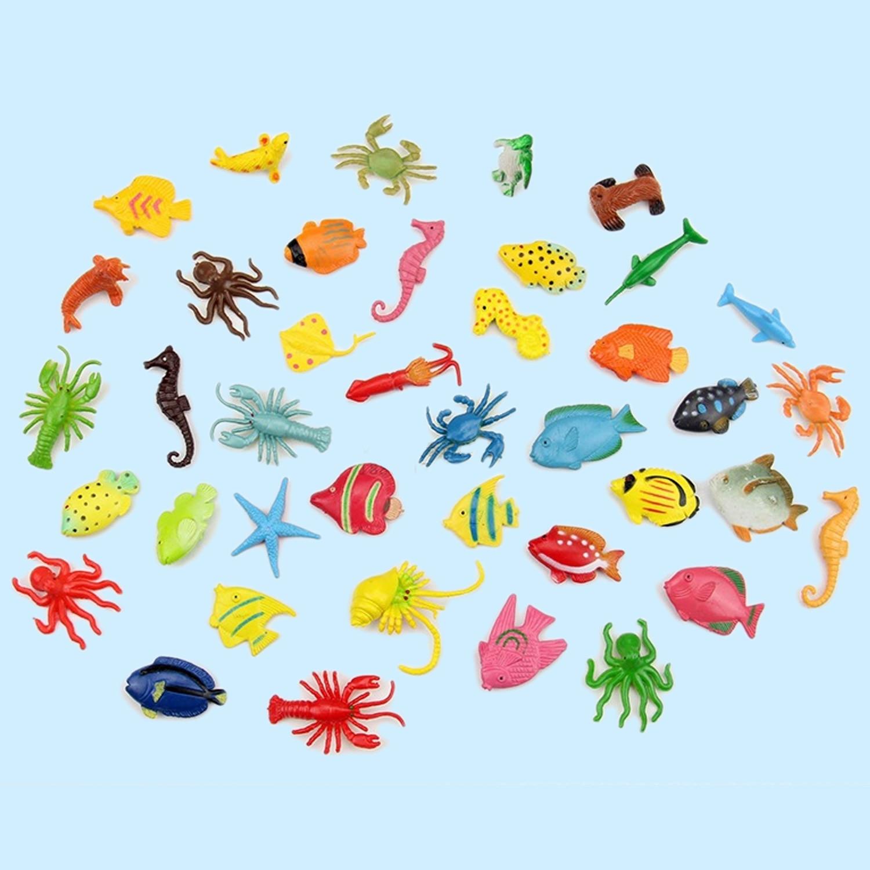40pcs Baby Mini Ocean Sea Animal Octopus Seahorse Fish Shrimp Crab Float Water Swimming Bath Toys Set Bathing Toy Bathtub Toy