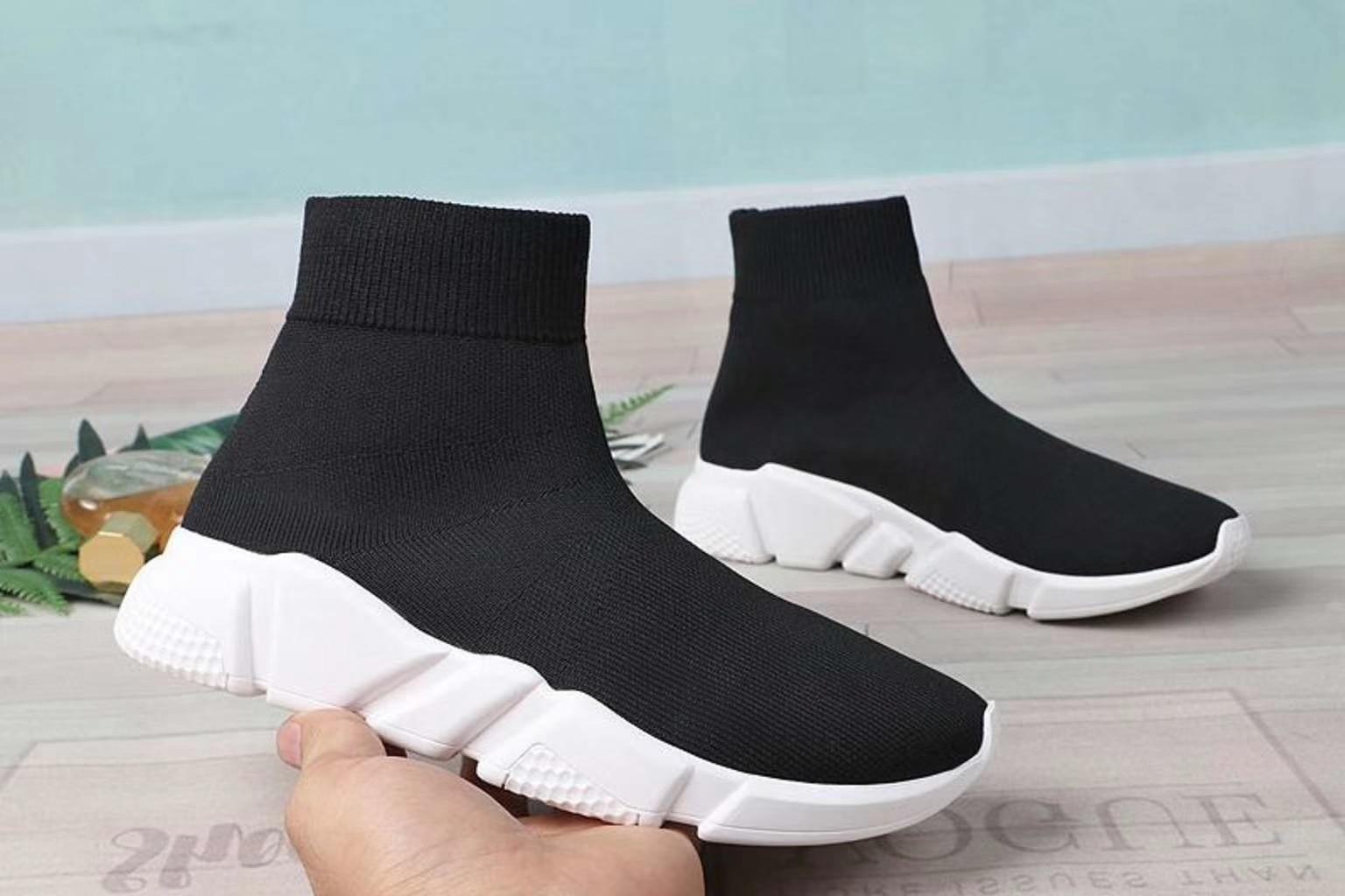 Noires Lacets Bottes Formateur Chaussette Haut Mode Sans Bottine Stretch Court Femme La De Chaussures Tissu dessus Marche Tricoté Femmes dp0FwnqZZ