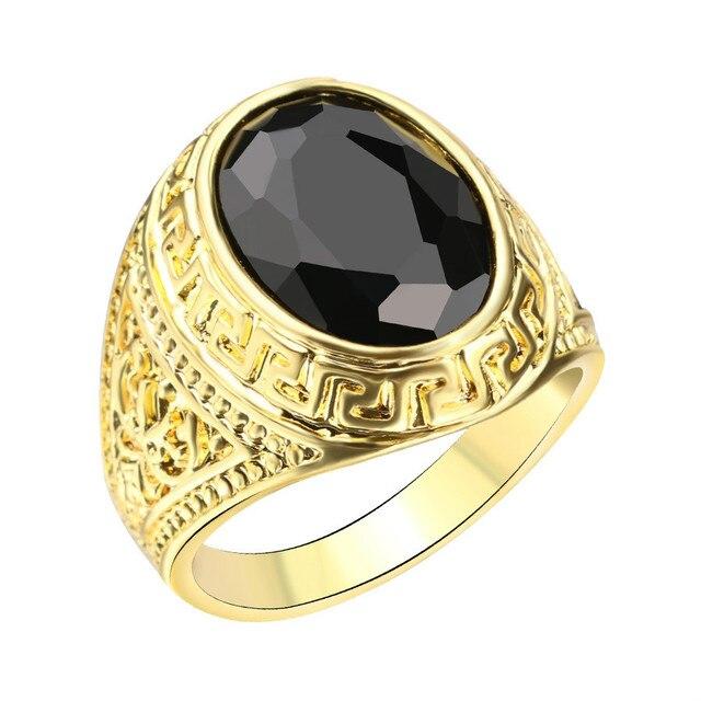 Mens Ring Texture Engraving Modelling Simple Precious Black Stones