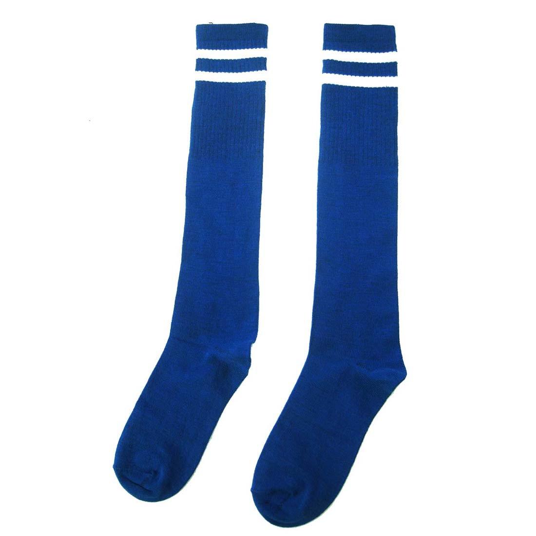 5 Pack Kids Football Soccer Long Socks Over Knee High Sock (Blue)