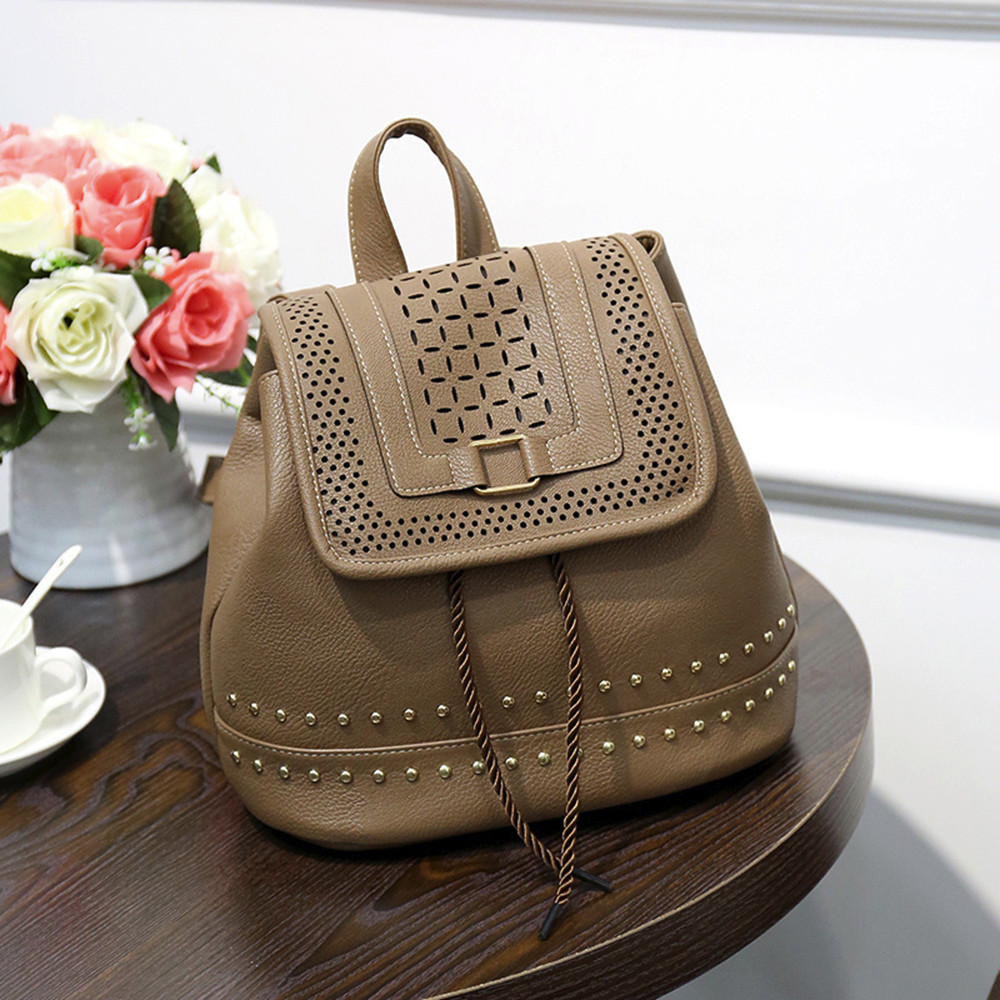 Fashion Women Backpack Vintage Hollow Out Travel Rucksack Drawstring School Bag JUNE1