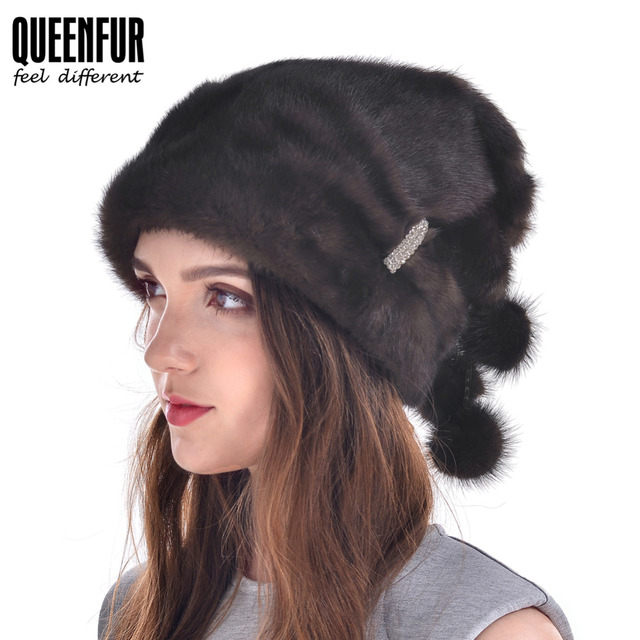 Hot Sale Real Mink Fur Hat For Women Winter Natural Mink Fur Beanies With Fur Pom Poms Headwear 2016 New Good Quality Female Cap