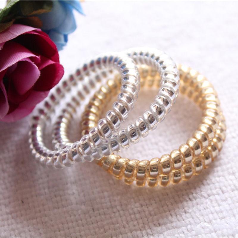 New Frauen Gold//Silber Elastisc Gummi Telefon Wire Haar Bands Ponytail Halter
