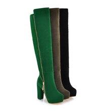 New Winter Women's Girls Suede Round Head Platform Side Zipper Knee High Boots Heel High Shoes Black Green Plus US Size 4.5-10.5