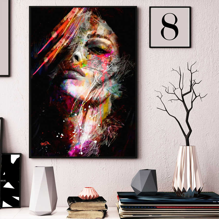 Abstract Wall Art Canvas Oil Painting Woman Face Colorful Wall Pictures Poster Prints For Hotel Aisle Living Room Home Decor Art